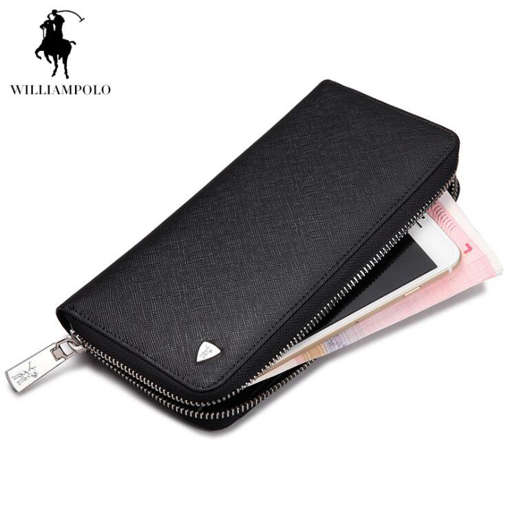 WilliamPOLO 2018 Men Wallets Business High Quality Genuine Leather Wallet Men Hand bags williampolo genuine leather men wallets business coin purse men hand bags zinc alloy zipper wallet
