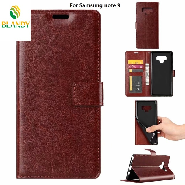 623bbfe413 50pcs/lot phone leather case for Samsung note 9 Soft TPU + PU Leather Crazy