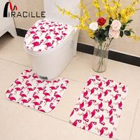 Miracille Pink Flamingo Pattern 3 Pieces Bathroom Set Toilet Seat Cover U Shaped Rug Coral Fleece