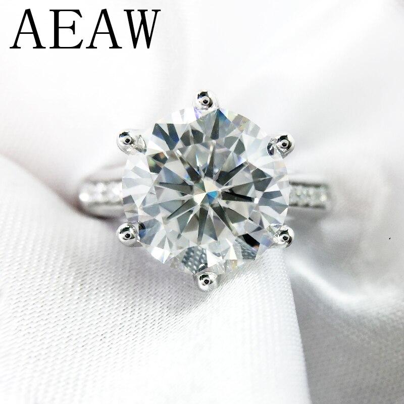 Solid 14K White Gold 4.0ct 10mm Round Cut DF Moissanite Engagement Ring Anniversary Ring Moissanite Ring For Women