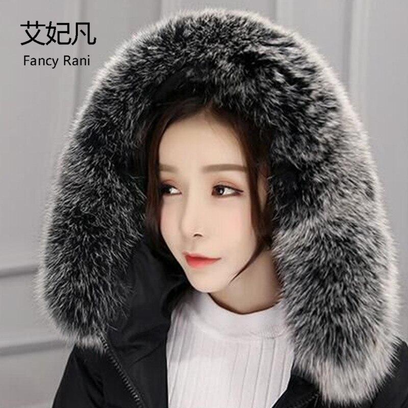 80CM Real Fox Fur Collars Female Fox Fur Square Collar Ring Scarf Women 100 Natural Genuine