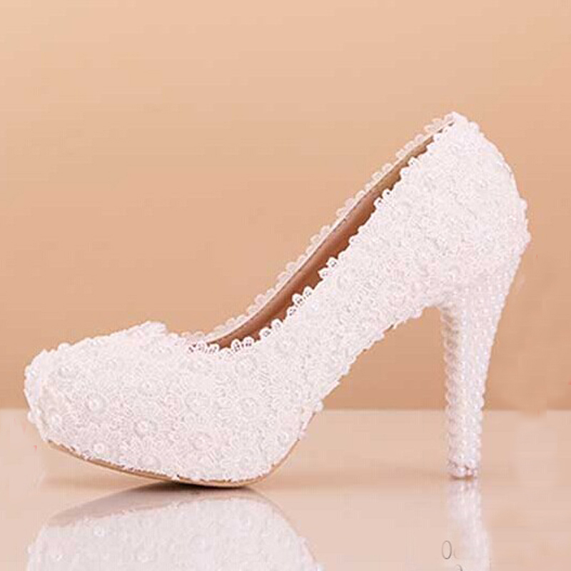 White Wedding Dress Shoes 4 Inches Heel Bridal Dress Shoes Lace ...