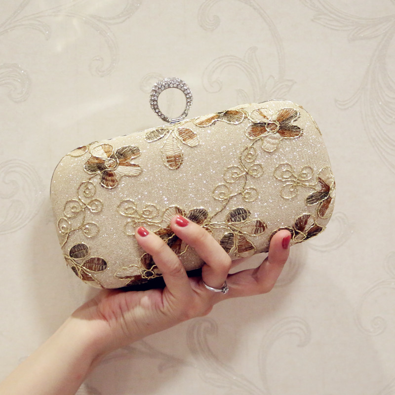 New Arrival Sequined Women Evening Bag Finger Ring Diamonds Leaf Handmade Style Small Day Clutch Evening Bag For Wedding r97541w leaf style copper zircon finger ring silver
