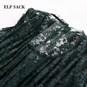 Image 4 - ELFSACK Summer Vocation Sexy Lace Blouses Women Vintage Green See Through Beach wear Loose Vest Womens Tops Sleeveless Shirts
