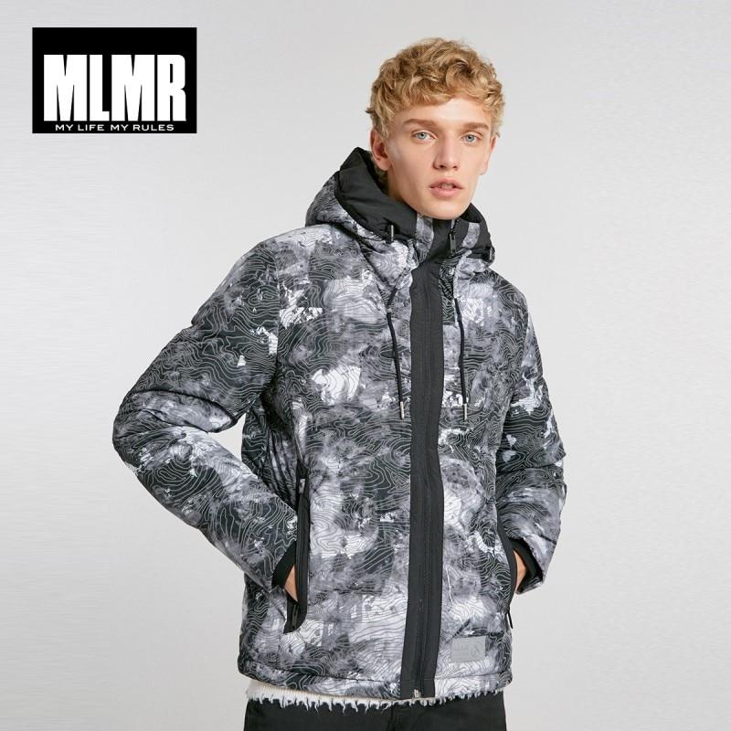 MLMR mannen Gedrukt Hooded Stand up Kraag Donsjack M  218312533-in Donzen jassen van Mannenkleding op  Groep 1