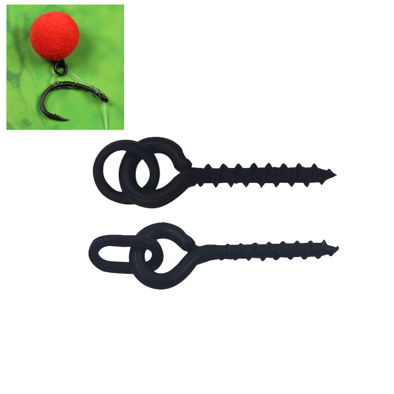 Bimoo 10pcs Carp Fishing Accessories Boilie Screw Peg with Ring Swivel Chod Rig Terminal Tackle Bait Holder lightweight 10pcs carp fishing boilie stop fishing tackle clear rubber long hair rig bait stopper carp fishing accessories