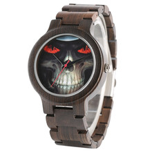 Full Wooden Skull Face Watches Creative Bracelet Clasp Punk Men Watch Sport Cool Bangle Nature Wood Analog Wristwatch Modern
