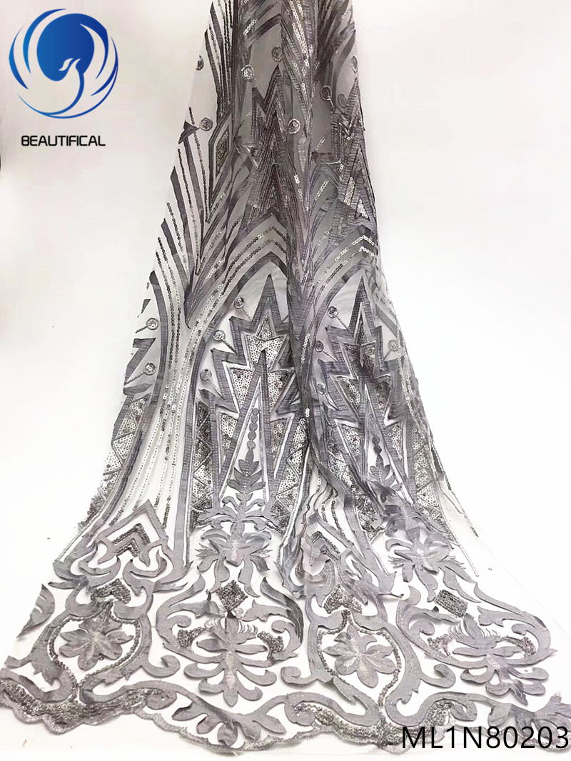 Beautifical nigerian lace fabrics 2019 New exquisite embroidery french net lace with sequins 5yards lace sequins fabric ML1N802Beautifical nigerian lace fabrics 2019 New exquisite embroidery french net lace with sequins 5yards lace sequins fabric ML1N802