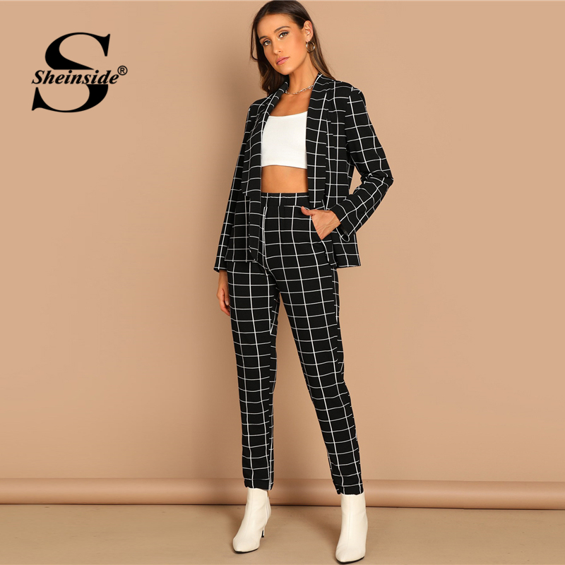Sheinside Fashion Shawl Collar Plaid Blazer And Tapered Pants Set Women Spring Elegant Workwear Plaid Blazer 2 Piece Set