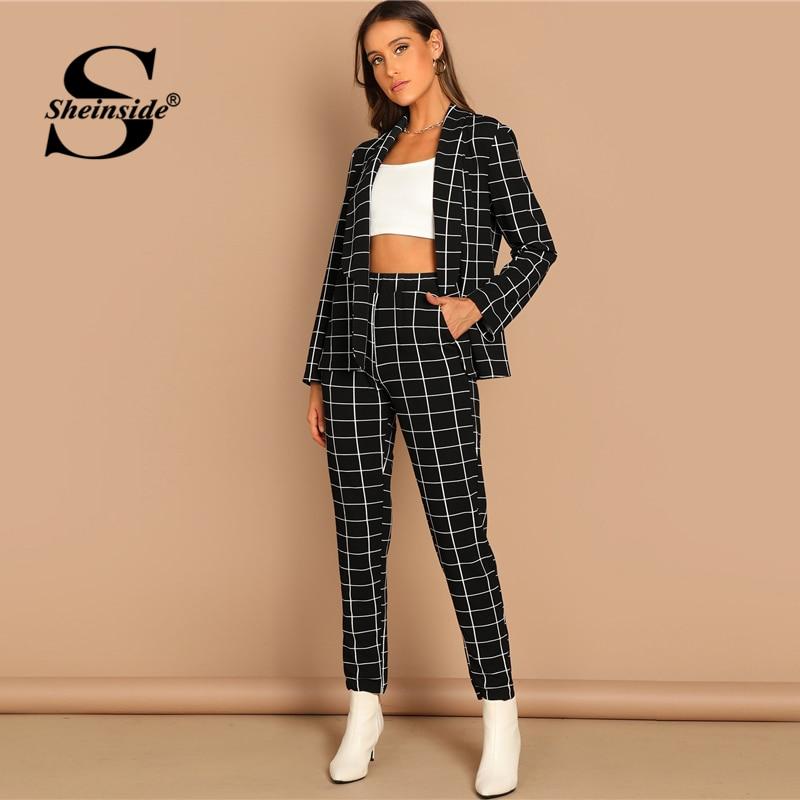 Sheinside Fashion Shawl Collar Plaid Blazer And Tapered Pants Set Women Spring Elegant Workwear Plaid Blazer 2 Piece Set