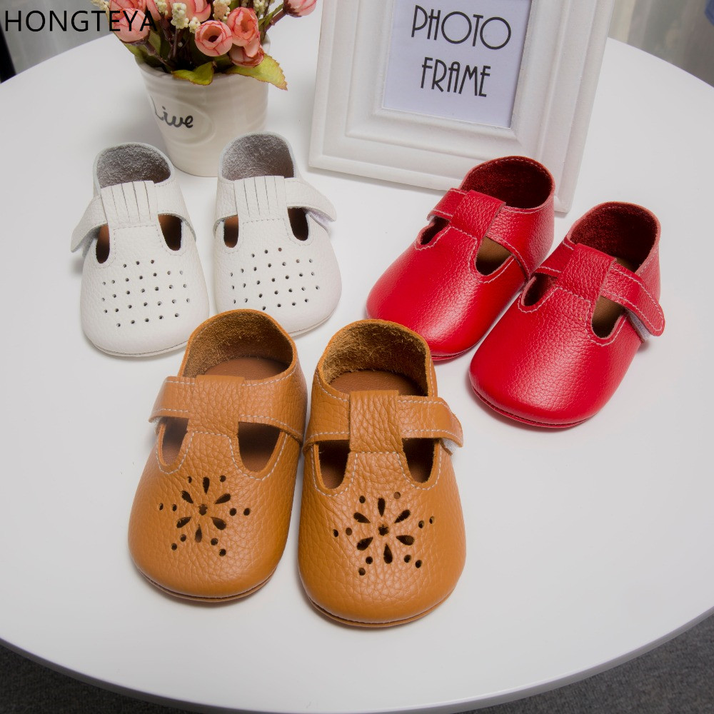 HONGTEYA Leather Baby Moccasins Soft Soled Anti-Slip Baby Sandals Baby Shoes Girl