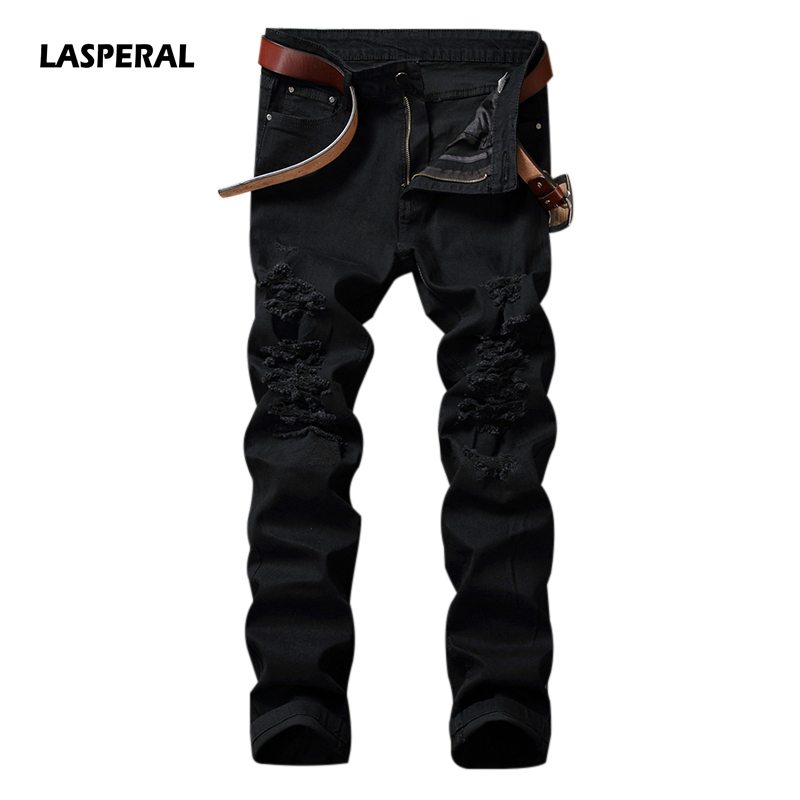 LASPERAL 2017 New Black Break Holes Denim Men Jeans Fashion High Street Casual Trousers Straight Slim Fit Long Pants Size 28-40 jeans men 2017 new arrival fashion brand high quality straight jeans pants casual scratched denim trousers slim fit jeans male