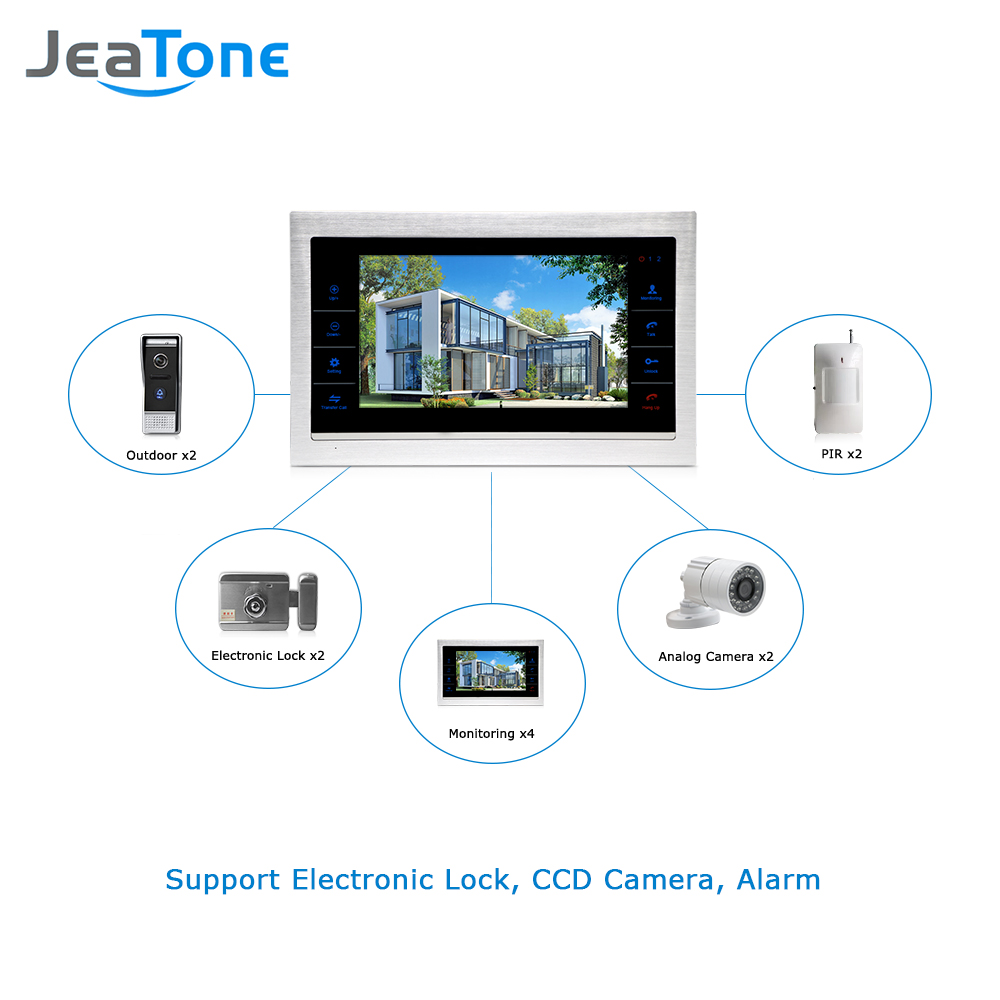 "JeaTone 10"" TFT Wired Door Phone Doorbell Intercom Monitor 2.8MM Lens 1200TVL  Camera 1V1 Kit For Private House Free Warranty-in Video Intercom from  Security ..."