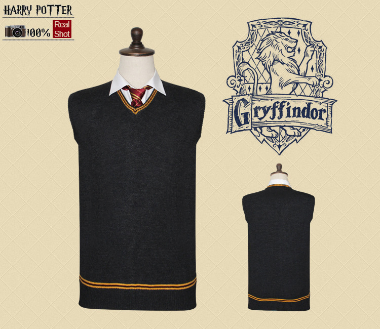 Sweater Gryffindor V Neck  Sweater Waistcoat Black all-match Daily Clothes for harry potter cosplay