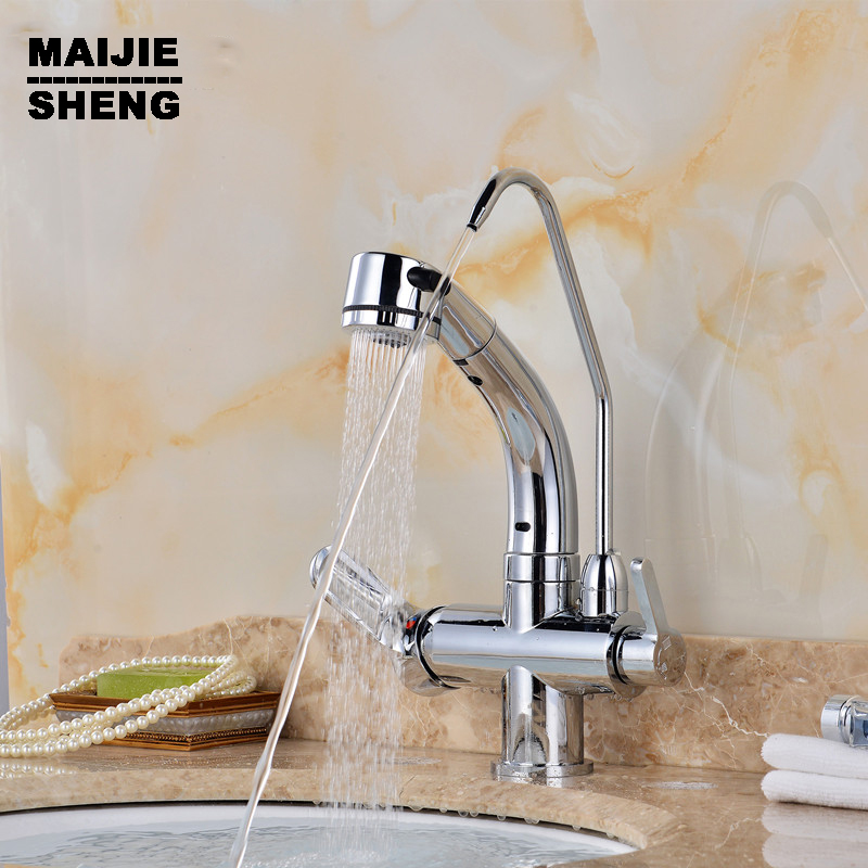 3 Way Double Function Filler Kitchen Faucet Three Way Tap For Water Filter  2017 Pull Out Spray Pure Water Kitchen Faucet In Kitchen Faucets From Home  ...