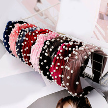 2019 Newest Women Fashion Velvet Pearl Hairband Korean Middle Knotted  Satin Wide Hair Accessories Hot