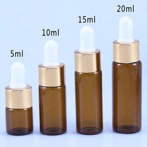 Image 3 - 50 pçs/lote 5 ml ml 15 10 ml 20 ml Âmbar Garrafa Frascos Conta gotas Com Pipeta de Vidro Para Cosméticos garrafas de Óleo Essencial Perfume