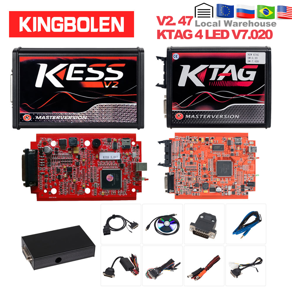 KESS V2 V2.47 V5.017 EU Red ECM Titanium KTAG V2.25 V7.020 4 LED Online Master Version BDM Frame ECU OBD2 Car/truck Programmer(China)