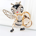 Lovely Bee Honeybee Pendant Charm Rhinestone Crystal Purse Bag Keyring Key Chain Accessories Wedding Party Gift