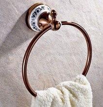 Rose Gold Brass Towel Holder Towel Ring Round Wall Mounted Towel Rack Towel Shelf Bathroom Accessories zba386 towel racks wall mounted towel shelf brass finish double bathroom accessories bath towel holder gold plating retro hj 1913k