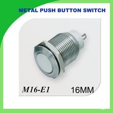 metal push button 16mm Metal Momentary Push Button Switch 1PCS flat self-locking