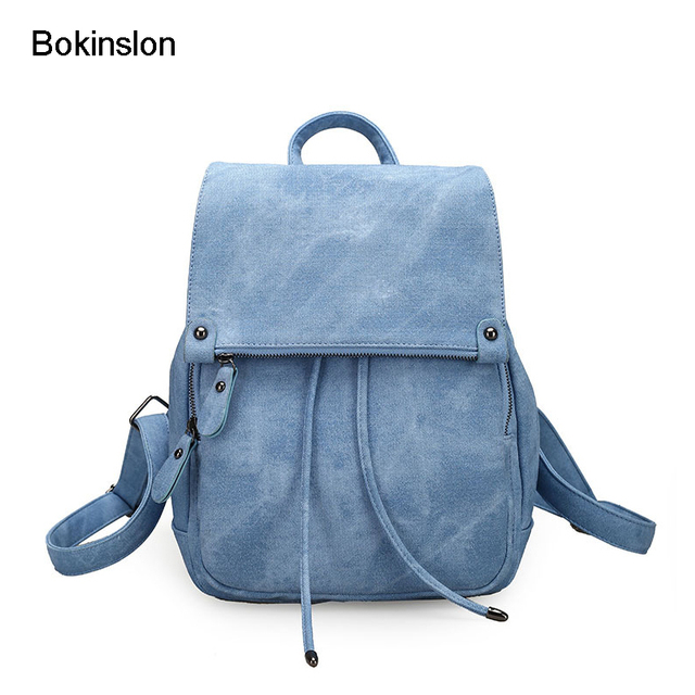 Bokinslon Women Nylon Backpack Fashion Casual Woman Backpack Bags College  Wind Solid Color Ladies Bags e8aac278fd58e