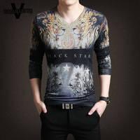 Lüks Mens T Shirt Moda 2017 Yenilik 3D Baskılı Aslan Hayvan siyah Yıldız Streetwear Pamuk V Boyun Hip Hop T Shirt Homme M-3XL