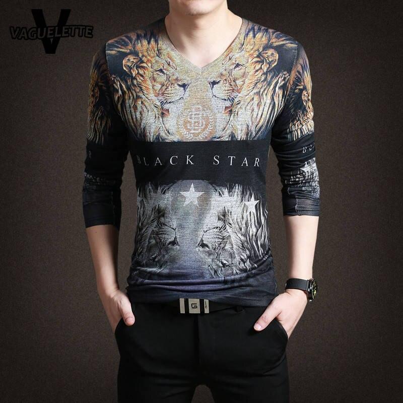Luxury Mens T Shirts Fashion 2017 Novelty 3D Printed Lion Animal <font><b>Black</b></font> <font><b>Star</b></font> Streetwear Cotton V Neck Hip Hop T Shirt Homme M-3XL