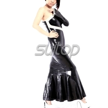 Latex bobtail Rubber tight Dress black color sexy club long mermaid dresses  longuette  dovetail