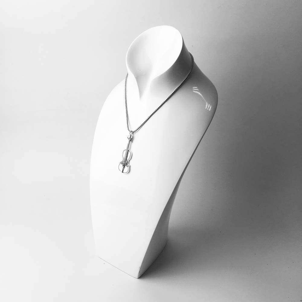 Skull Violin Pendant 925 Sterling Silver