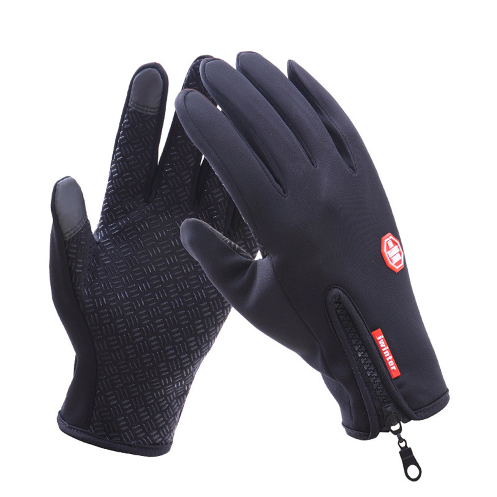 Outdoor Waterproof Gloves Touch Screen Men And Women Windproof Riding Zipper Sports Winter Warm Fleece Protective Gloves ozero men s work gloves touch screen driver sports winter outdoor warm windproof waterproof below zero gloves for men women 9010