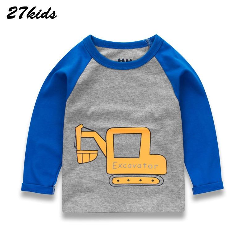 27kids 2-9Years Cartoon Navvy And Bull Dozer Pattern Boys Long Sleeve T-Shirts Baby Kids Children Tees Shirts Boys Tops Clothes