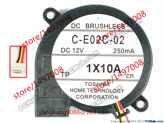 Free shipping For TOSHIBA C-E02C-02 DC 12V 250mA 3-wire 3-Pin connector 75mm Server Blower Cooling fan