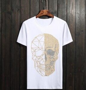 Image 3 - Yaz üst erkek kafatasları Rhinestones T gömlek Modal pamuk O boyun kısa kollu ince Tee gömlek