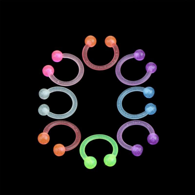 10PCS/20PCS  Luminous Acrylic Tongue Ring For Women Ear Septum Nipple Piercing Bar Bell Navel Lip Eyebrow Piercing Body Jewelry 4