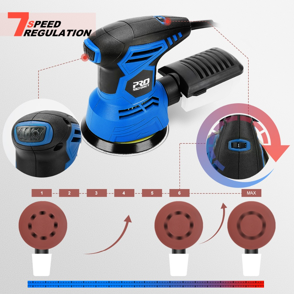 Image 3 - PROSTORMER 300W Random Orbital Electric Sander Machine with 21Pcs 125mm Sandpapers 120V/240V Strong Dust Collection Polisher-in Sanders from Tools on