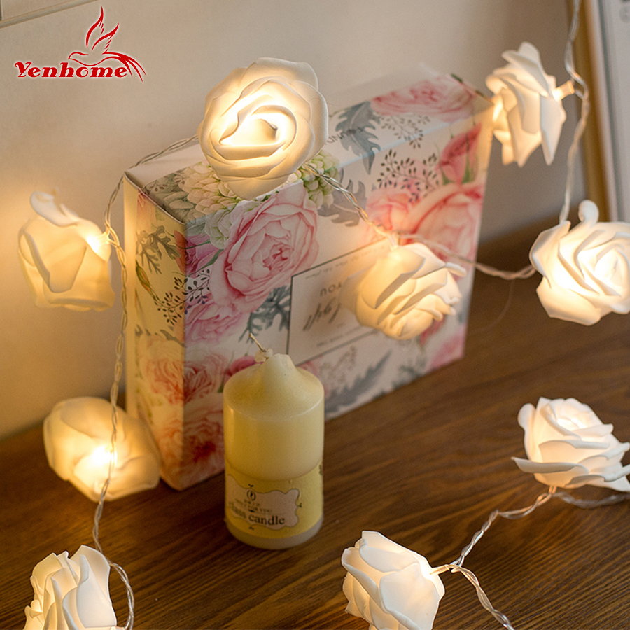 Romantic Rose Flower LED String Lights 20 LEDs Night Light Lamp 3M Fairy LED Strip For Wedding Holiday Christmas Home Decoration