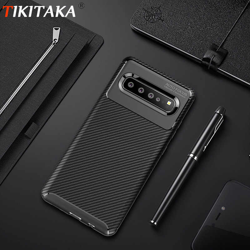 Tikitaka Carbon Fiber Matte Case For Samsung S10 S10Plus S10Lite Soft TPU Radiating Cell Phone Cases For SamsungS10 E Back Cover