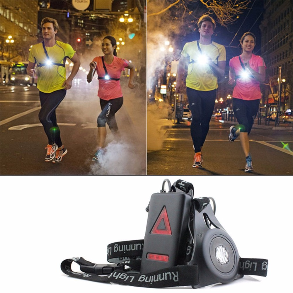 Outdoor Sport Running accessory Lights LED Night Running bag Flashlight Warning Lights USB Charge Chest Lamp White accessory 14