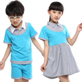 Estudiantes de Kindergarten uniformes escolares desgaste manga corta traje de verano Boys and Girls Wholesale servicio de clase