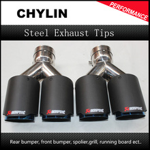 Car Styling 2PCS: 63mm Inlet 89mm Outlet Stainless Steel Car Exhaust Tip Akrapovic Carbon Fiber Exhaust Muffler Dual Tips