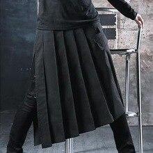 Стилист ночной клуб панк сценические костюмы мужские короткие юбки гипотенуза долго троса фартук юбка брюки