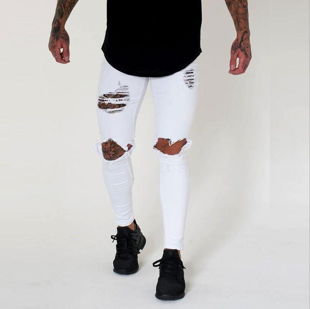 NEW Men Stretchy Ripped Skinny Biker Jeans Destroyed Taped Slim Fit Holes Blue Black Denim Pants Size 28-36