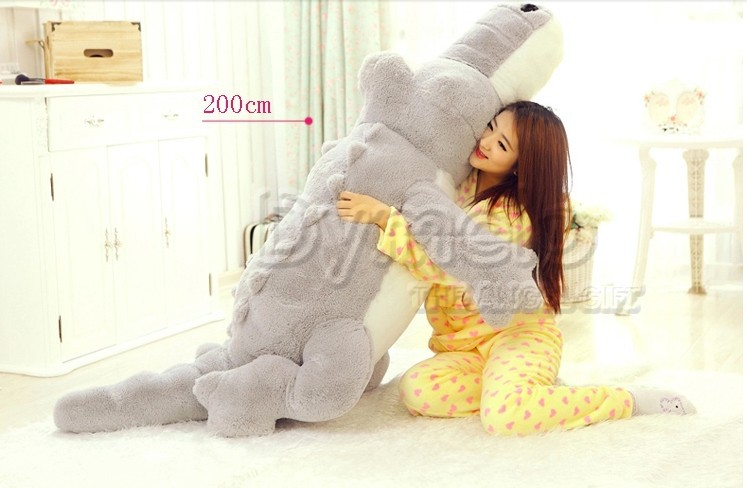 stuffed animal cartoon gray crocodile plush toy 200cm doll Cushion throw pillow about 78 inch throw pillow p0213 1pcs 52 26cm creative novelty item funny women big mouth shape cushion pink red lip plush toy throw pillow for couch pregnancy