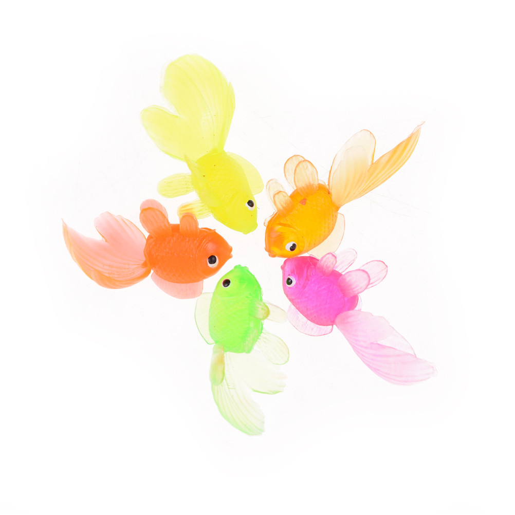 3/20Pcs/lot Random Color 4cm Soft Rubber Gold Fish Small Goldfish Kids Toy Plastic Simulation Small Goldfish