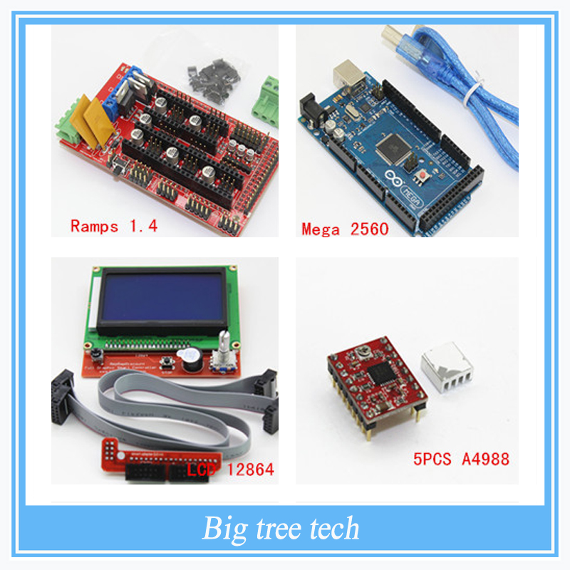 3D Printer kit- 	Mega 2560 R3 Microcontroller + ramps 1.4 controller + 12864 LCD Panel + A4988 stepper driver For arduino new mega 2560 ramps 1 4 controller 4pcs a4988 stepper driver module for 3d printer kit for arduino reprap