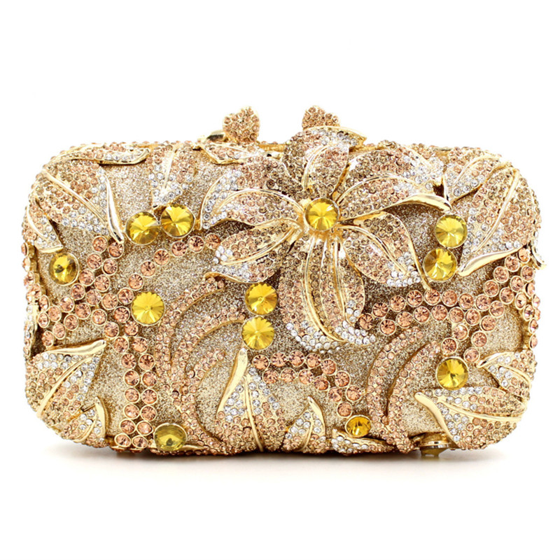 2017 New Lady Day Clutches Luxury Crystal Diamonds Flower Women Evening Bags Handbag Wedding Party Bag Purses Handbags Sacs 2017 luxury flower evening bag handmade diamond clutch bags women crystal butterfly handbags party velvet clutches purses jxy784