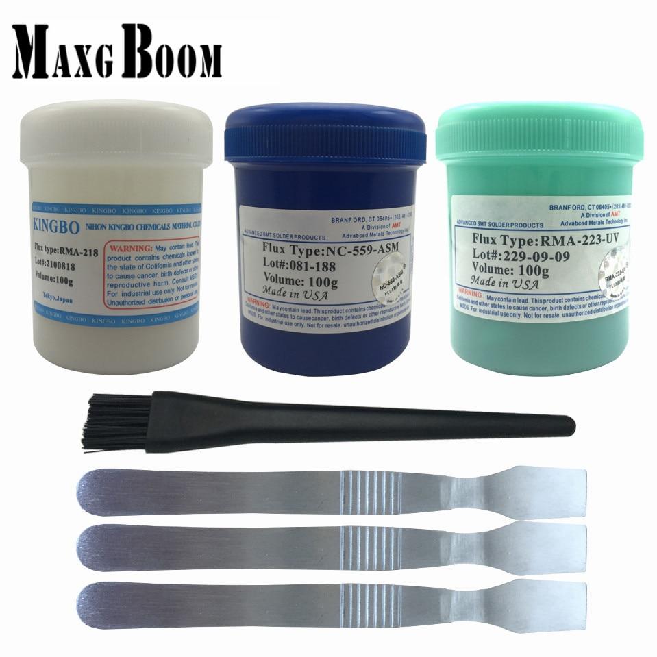 RMA-218 100g Lead-Free Solder Flux Paste For SMT BGA Reballing Soldering Welding Repair No Clean+brush free shipping 3pcs rma 218 solder paste 100g in stock