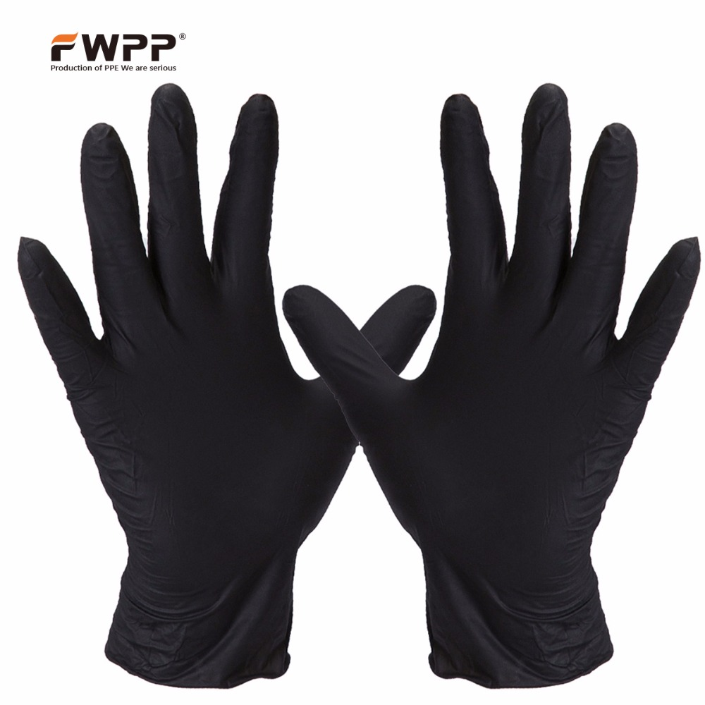 FWPP Disposable Nitrile Surgical Gloves Ambidextrous Textured Powder Free Latex Free, Hypoallergenic Pack of 100 Pcs,Black new safurance 100x industrial disposable nitrile latex gloves powder free small medium large workplace safety