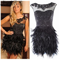 Hot Black Short Feather Cocktail Dresses Sexy Lace Above Knee Mini Formal Gowns Dresses Party Dresses Robe De Cocktail
